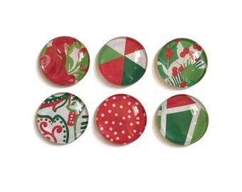 Christmas Magnets + Tin / Fridge Magnets / Glass Christmas Magnets / Refrigerator Magnets / Christmas Magnets / Christmas Decor / Magnet Set