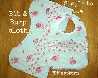Burp cloth set pattern, Baby bib pattern, Burp clothes pattern, Baby bibs handmade, Infant pattern, Classic Bib and Burp Cloth pattern(S122)