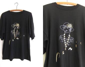 Paris France Bedazzled Souvenir T Shirt - 90s Fashion Embellished Tourist Style Vintage Tee - Womens Large
