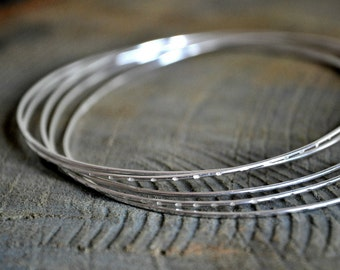 Looped Sterling Silver Bangle Made by Five Chained Thin Bangles