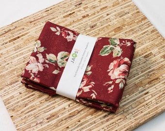 Large Cloth Napkins - Set of 4 - (N3945) - Scarlett Red Rose Modern Reusable Fabric Napkins