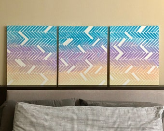 3 Tier Abstract Canvas Painting