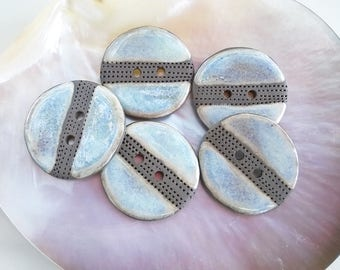 Set of 5 ceramic  buttons, Light blue buttons, Handmade Stoneware Buttons, Sewing Supplies