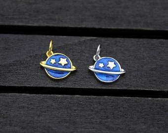 Sterling Silver Planet Earth Charm Pendant,Blue Cloisonne Enamel Galaxy Charm Pendant