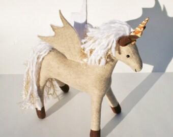 Dandelion Wish Pegacorn Fantasy Plush ~ Eco Friendly Stuffed Animal Toy, Pegasus, Natural Toy, Flying Unicorn, Plush Unicorns, Felt Ponies