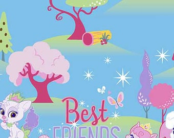 Disney, Palace Pets, Best Friends are Magical on blue, Cotton fabric, 1 Yard