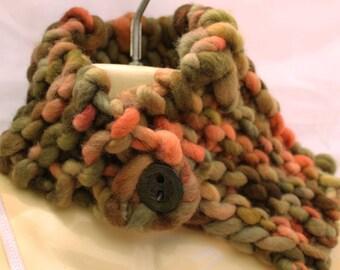 Handspun handknit neckwarmer