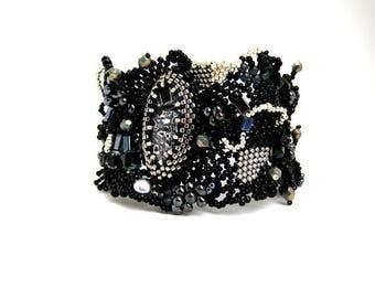 Freeform peyote  bracelet / Black bracelet / Black beaded bracelet for women / Black cuff / Black jewelry / Seed bead bracelet