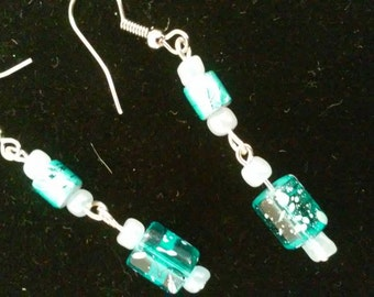 light blue glass dangle earrings