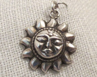 Sun Face Puffy Sterling Silver Pendant Charm