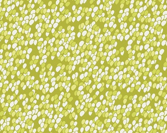 "Chic Flora Fabric from Art Gallery Fabrics ""Innocent Charm Apple"". Lime Green Dots. 100% premium cotton. CF-30031"