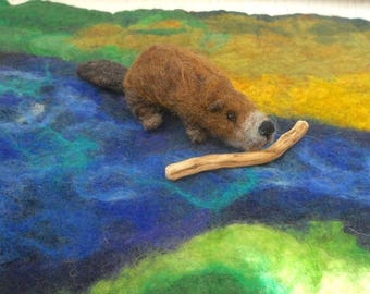Needle felted beaver, hand felted beaver, Waldorf animal play, beaver builds a dam, play mat, nature table, nursery school