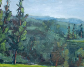 JACKSON RANCHERIA FOREST - 12 x 24 - Casino Campground - Plein Air - Original Oil Painting - Trees - California Landscape - Artwork - Art
