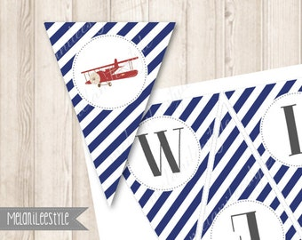 Printable Red Airplane Baby Shower Banner, Vintage Plane, Navy Blue, Bunting, Garland, Up Up and Away Decorations, INSTANT DOWNLOAD