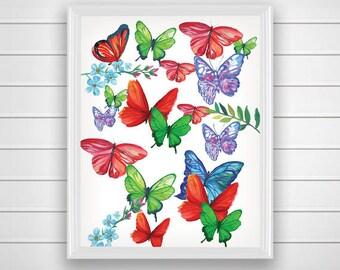 SALE 50% Butterfly art print, Butterfly wall art, Printable wall art print, Butterfly decor, Colorful home decor art, Nursery Art