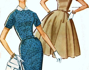 Vintage 1960s MadMen Dress w/ Full or Slim Skirt Sewing Pattern McCalls 5939 60s MOD Sewing Pattern Size 12 Bust 32