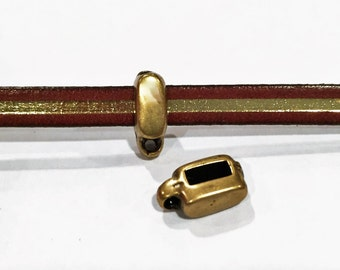 SALE: 2 Hypoallergenic Brass Charm Holders for 5mm Flat Leather, 5mm flat bail slider