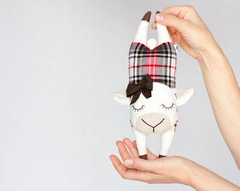 Flying Cow, Plush for babies, Small Pillow, Soft Toy made with Printed Cotton Fabrics and Scottish Wool, Nursery Toy
