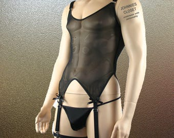 Mens Corset Top, G string and Leg Bands Black