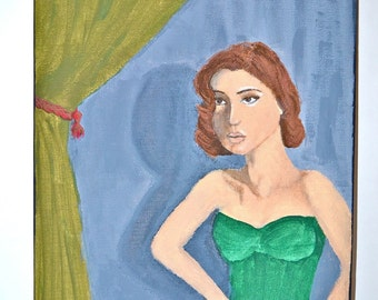 "Woman Behind the Curtain 9"" x 12"" Original Painting"
