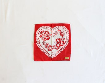 Vintage Valentine Puzzle Handkerchief - Hidden Heart Pattern Hanky w/ Red, and White Lace, Hearts and Flowers - Valentines Greetings Hankie