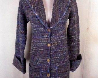 vtg 60s Jantzen ladies Shawl Collar Chunky Space Dye Sweater bell sleeve S/M