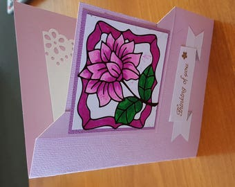 Handmade Card, Purple and Pink, Thinking of You on any occasion!!