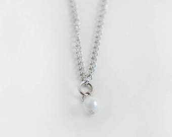 Necklace chain and charms - White pearl