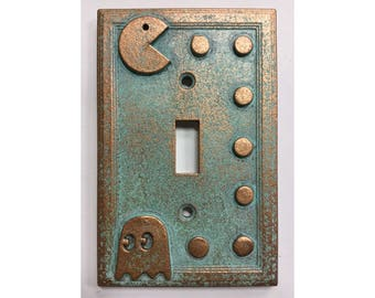Pac-Man  - Light Switch Cover - Aged Copper/Patina