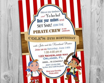 Jake and the Neverland Pirates Birthday Invitation: Printable Boys Pirate Invite, Matching Party Printables, other Invitations Available