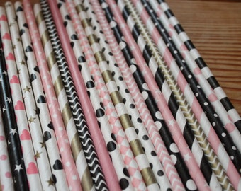 30 Paris Theme Party Straws - Pink Gold and Black Paper Straws