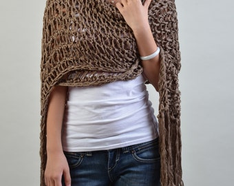 Hand knit woman scarf/ shawl - extra long eco cotton scarf coffee brown scarf