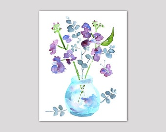 watercolor flower, bathroom art, bathroom wall decor, watercolor painting, purple, butterfly art, blue, green - Keeping Spring 9