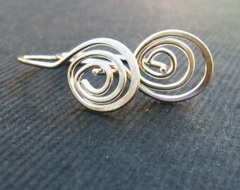 triple swirly mini-hoops in sterling silver