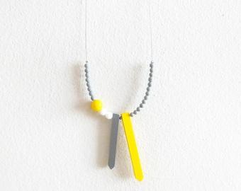 yellow grey white necklace, contemporary minimalist tribal jewelry
