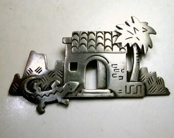 J.J. SouthWest Adobe House PIN, Lizard n Palm Tree Brooch,  Jj Jonette Collectible,  Signed, 1980s,