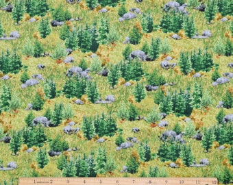 Landscape Fabric Where the Buffalo Roam Brush in Green From Quilting Treasures 100% Cotton