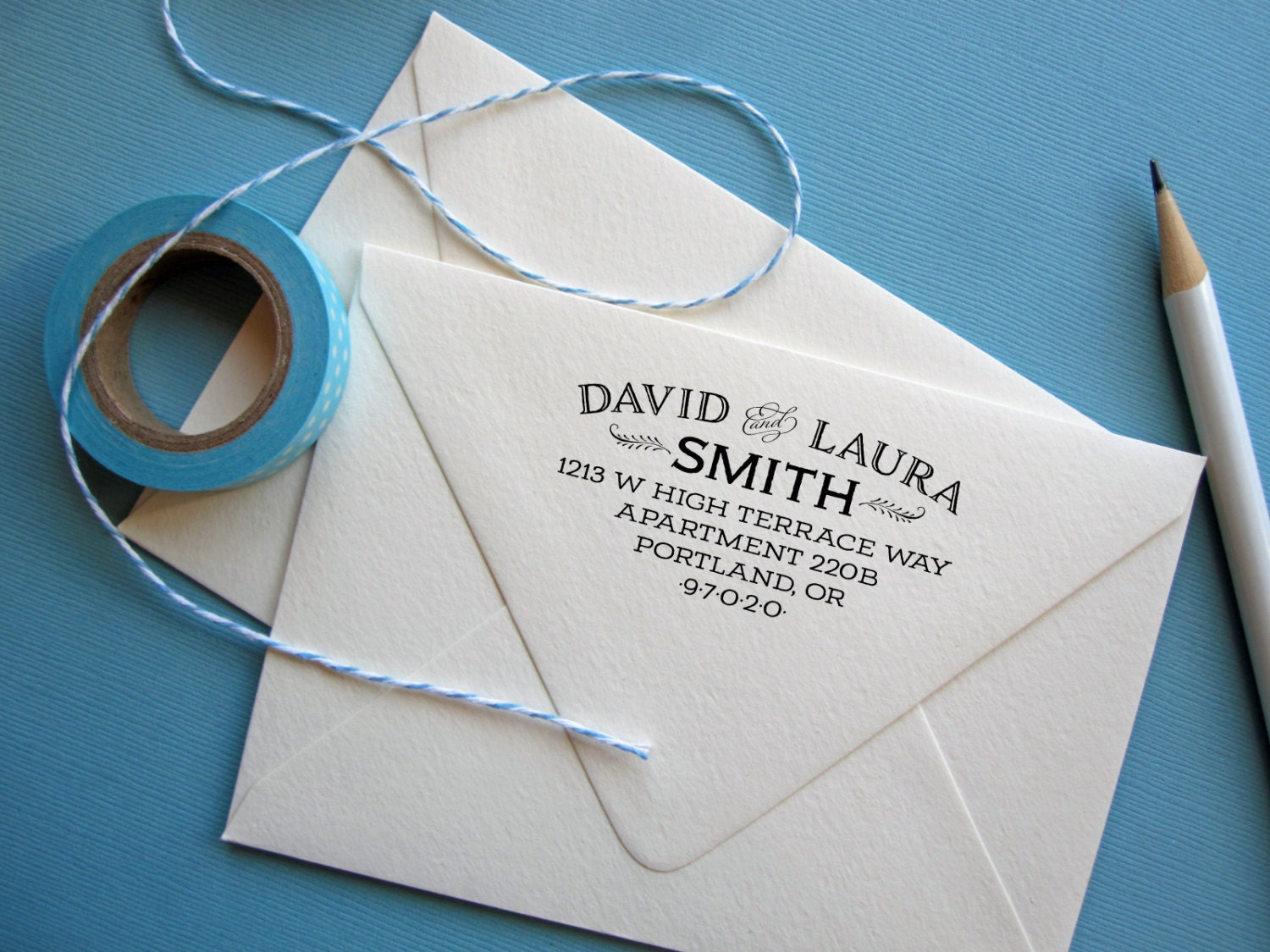 Return address stamp with long address and apartment number