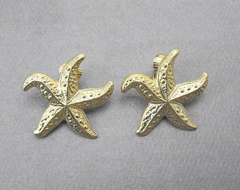 Retro Avon STARFISH Earrings (1987) Gold Plated Clip Style