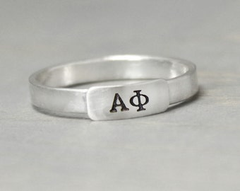 Alpha Phi Silver Ring, Alpha Phi Jewelry, Silver Stacking Ring, Sorority Ring, Sorority Jewelry, Sterling Silver Ring, Silver Letter Ring