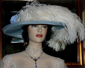 Kentucky Derby Hat Ascot Edwardian Tea Hat Titanic Hat Somewhere Time Hat Downton Abbey Hat Women's Blue Ivory Hat - Blue Rose Crystal Fairy