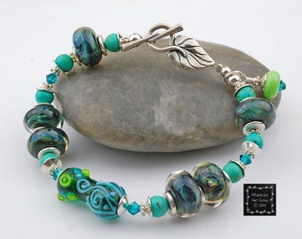 Enchanted Beaded Bracelet - Artisan Lampwork Glass, Lime, Aqua, Teal, Silver