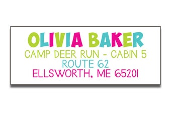 Girls Personalized Camp Address Labels, Return Labels for Camp, Camp Stationery, Kids Camp Stationery, Personalized Labels