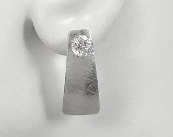 Earring Jackets for Studs, Silver Ear Jacket, Diamond Jackets, Jackets for Post Earrings, Dangle Jacket for Studs, Brushed Satin JDTRAPSSSAT