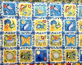 "In The Beginning FOLK ART PANEL - 2 Different Colors - Rust/Gold & Blue/Green - 100% Cotton  - Quilt Shop Quality Fabric -   24"" x 44"""