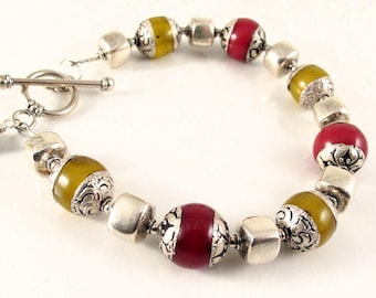 red and yellow ethnic resin beads with Thai fine silver and sterling silver - intention jewelry