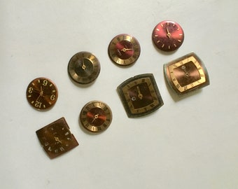 Vintage Watch Faces in Reds, Browns, Coppers for Collage and Steampunk Crafts