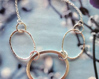 Sterling Silver Oval Hoop Necklace