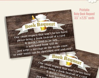 Printable Book Request Insert, Baby book request cards, book in lieu of card, instant download, G102-BR