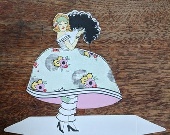 Vintage Art deco 1920's Die Cut Place Card Large size Lady Dress Ruffled Bloomers Party Decor Scrapbooking Supply